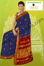 Marvelous gadwal imperial blue saree with all over zari bootis, orange border with golden zari border and heavy zari pallu is suitable for wedding wear, traditional wear and also party wear