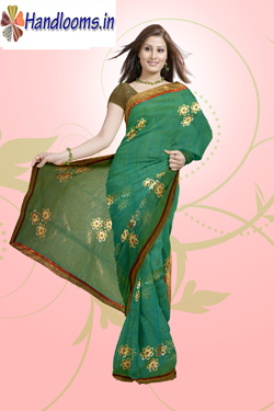 Banarasi Copper tissue attach border with brocked fancy checks all over computer embroidery work saree