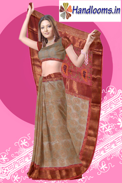 Chikku supernet with jaipuri block print attached banarasi brocked border and embroidery pallu sari