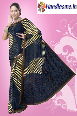 Designer patch work patola with fancy checks block printed sari