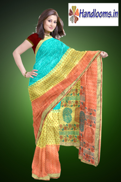 Latest multi color Supernet patch work saree with print latest Indian womens wear sari